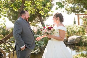 Groom has a huge surprise reaction to seeing his bride for the first time at Mile High Oaks wedding