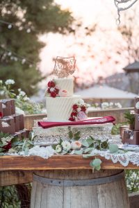 Cake and cupcakes decorate a table at Mile High Oaks wedding
