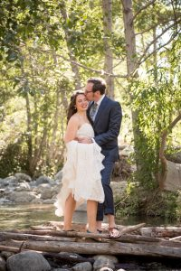 Bride and groom share a kiss during the adventure elopement in Southern California