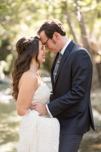 Bride and groom touch foreheads during their southern California elopement